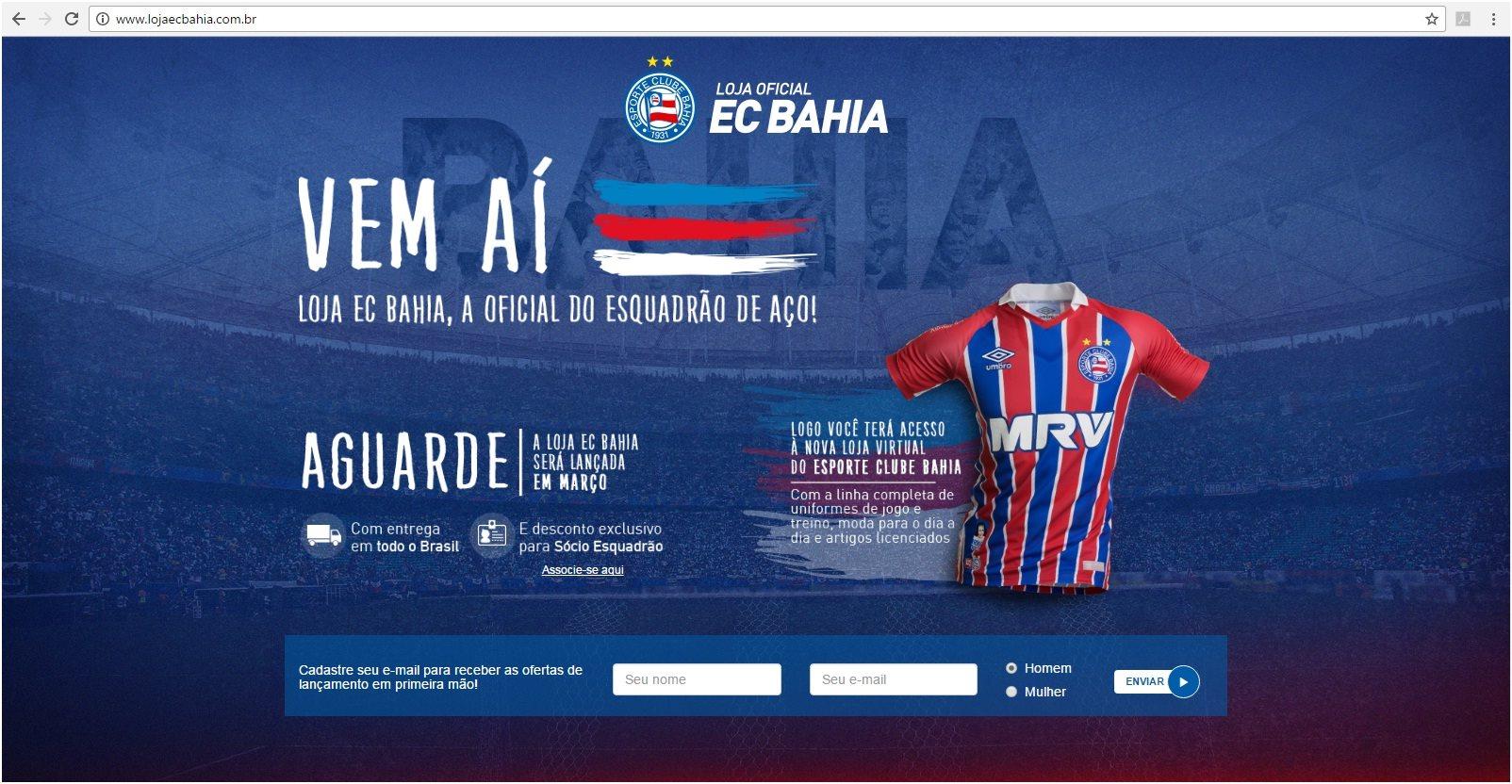 fd4fcf99519 Esporte Clube Bahia lança loja virtual EC Bahia